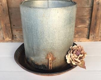 Vintage Galvanized Chicken Feeder, No Top, Rusty Metal, Planter, Garden Decor, Cottage Chic, Rustic Decor, Farmhouse Decor, Home Decor