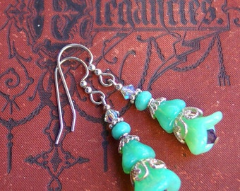 Mint Green Christmas Tree Earrings in Sterling Silver / Holiday Jewelry / Stocking Stuffer / Christmas Gift / Women's Gift