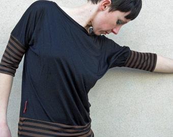 batwing shirt in black cotton,shirts,tee,women's t shirt,women's top,clothing,top,batwing tee,