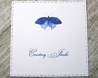 Butterfly Personalized Enclosure Cards - Gift Enclosure Cards - Calling Cards - Set of 24 - Girl - Trend - Flat - One sided - Embossed edge