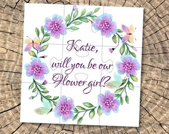 Will You Be my Flower girl gift Be my junior bridesmaid card Asking Flower Girl Proposal puzzle personalized Jigsaw flower girl invitations