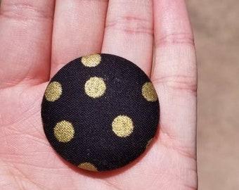 Black Polka Dot Interchangeable badge reel