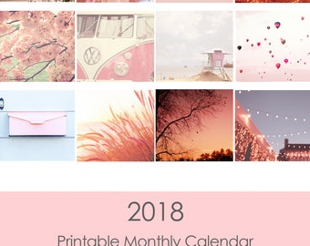 2018 Photography Calendar,  Printable Desk Calendar, Travel Photography, Beach, California, Nature, Pink Tone- Instant Download