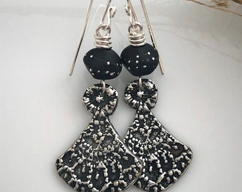 Long Boho Silver Earrings     Black Lampwork Glass Earrings