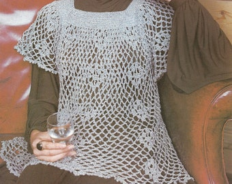 Vintage Crochet Pattern, Ladies Smock Top Pattern , Crochet Pattern ,  PDF  pattern