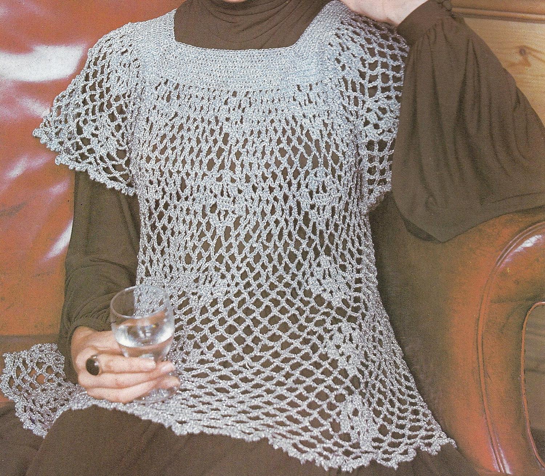 Vintage Crochet Pattern Ladies Smock Top Pattern Crochet
