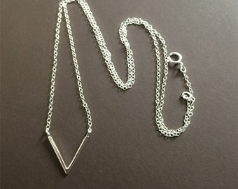 V Necklace, Sterling silver chevron necklace, Triangle Necklace, Sterling Silver Necklace, Simple Necklace , Geometric Necklace