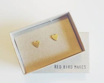 Mini Brass Valentine's Heart Stud Earrings