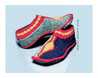 Knit Slipper Pattern Cozy Slipper Socks Knitting Pattern Womens Instant Download PDF - K62