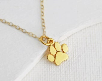 Gold Paw Necklace - Tiny Paw Print Necklace - Vermeil Paw Charm - Cat Paw Necklace - Dog Paw Necklace - Pet Memorial Necklace - Pet Jewelry