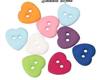 12 heart 12 mm resin buttons
