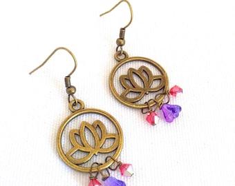 lotus flower earrings, yoga jewelry, flower lotus earrings, bronze lotus, niobium earrings