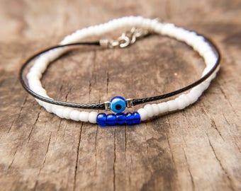 Protection bracelet, Men Evil Eye Bracelet, Evil Eye Bangle, Men Double Bracelet, Gift for Him, Men Charm bracelet, Men Skinny bracelet