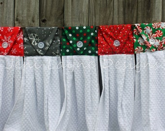 Hanging Kitchen Towels- Christmas and Winter prints, Christmas Kitchen Towels, Christmas Hanging Towels, Snowflakes