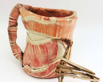 Primitive Mug, Rustic Distorted Funky 12 oz Coffee Mug, Orange  Red Yellow Textured , Asymmetrical, Puzzle piece Stoneware