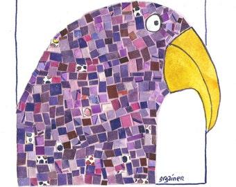 Parrot Art, Purple Parrot Art, Purple Mosaic Parrot, Purple Paper Mosaic Art, Purple Paper Mosaic Print