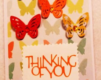 Thinking of You Greeting Card, Butterflies Handmade Greeting Card, Card with Butterfliess, Made in the USA, #457
