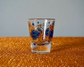 Vintage 1960s Shot Glass In Blue And Gold / Drink And Barware / Retro Shot Glasses / Drink Ware / Exotic Home Decor /Heavy Bottom Shot Glass