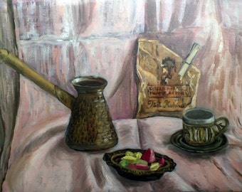 "Original Oil Painting, 16,4"" x 11,4"" Still-life, Turkish coffee,  Impressionist at Wall Decor, Cottage Chic, Rustic Style, Oriental painting"