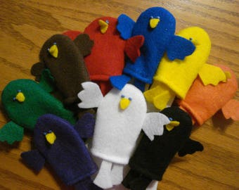 Teach colors and numbers  9 Finger Puppets includes white  color