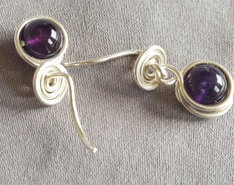Amethyst Backless Post Earrings with Fine Silver Wire