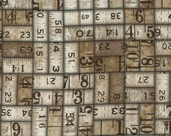 Tim Holtz Taupe Measurements fabric yardage, ruler fabric, grunge fabric, eclectic elements