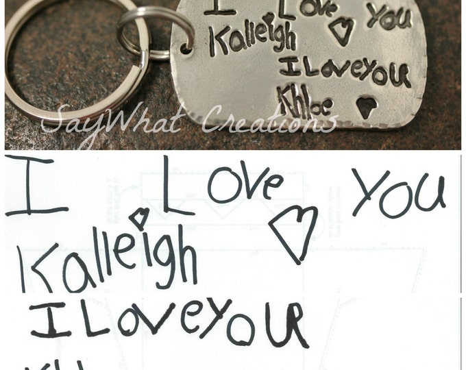 Handwriting Keychain solid silver made from your actual handwriting or drawing