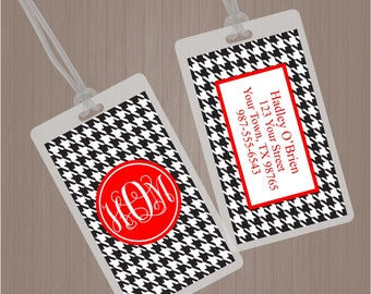 Monogram Luggage Tag, Houndstooth Luggage Tag, Houndstooth Bag Tag, Diaper Bag Tag, Geometric Luggage Tag, Back Pack Tag, Daycare Tag