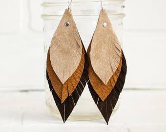 leather feather earrings, leaf earrings, boho earrings, earrings, dangle earrings, feather earrings, handmade, tassel earrings, stacylynnc