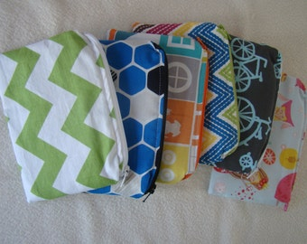 """Made to Order: Set of 2 Small Snack Bags, 6"""" X 4"""" with zipper, you choose print."""