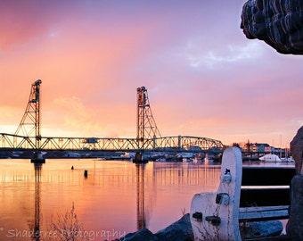 Bridge Memorial Bridge Sunset Piscataqua River Ocean Historical Prescott Park Portsmouth NH,  Fine Art Print