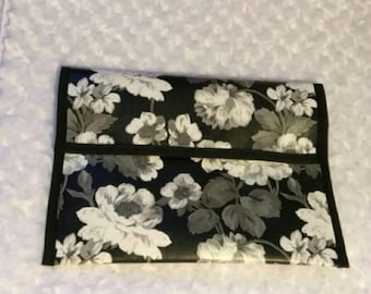 Floral B&W Faux Leather Purse