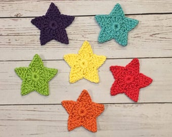 Crochet Star Applique - Set of 6, Rainbow colored