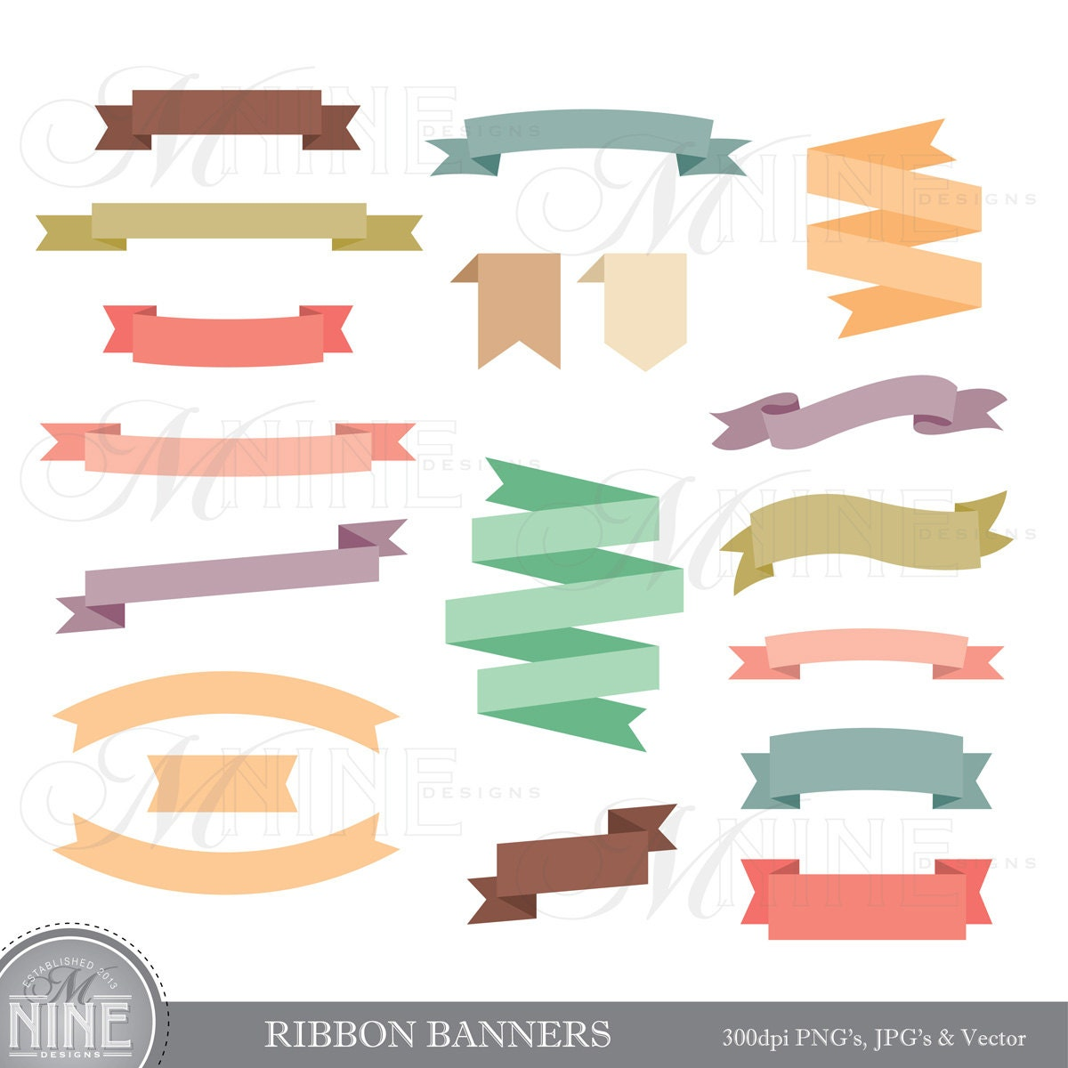 Brand new RIBBON BANNERS Clipart Clip Art Vector Art File Instant WI75