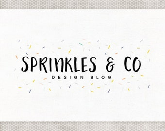 Premade Logo Design | Photography Logo | Premade Blog Header | Sprinkles Logo | Mint and Blush | Yellow and Purple | Pink and Gray