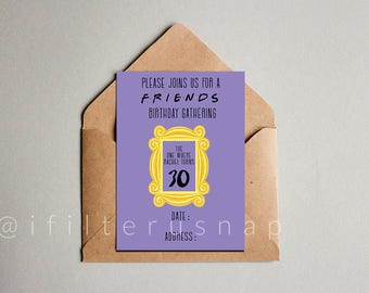 Friends Theme Birthday Invitation 5x7
