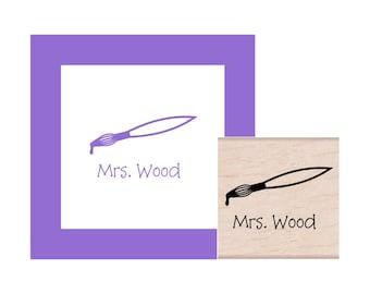 Art Teacher Paint Brush Personalized Rubber Stamp