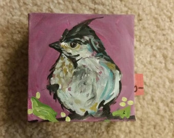 Bird. Painting. Art. Home decor. Whimsical. Children's decor. Nature. Woodland. Wildlife.