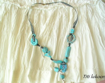 """Azure"" necklace made of polymer clay blue camieu"
