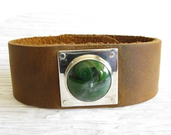 Glass & cremation ashes Journey leather cuff memorial bracelet. Sterling silver bezel. Cremains of your pet. Men or women's unique jewelry.