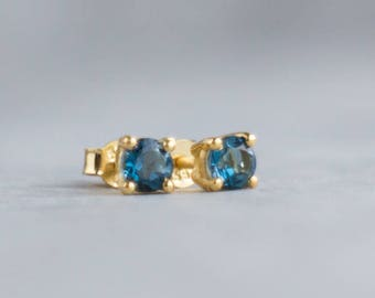 14K Gold London Blue Topaz Ear Studs