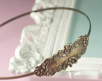 Bronze bridal headband brass floral romantic antique style victorian wedding hair accessory vintage inspired