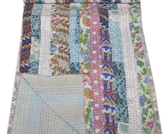 Queen size kantha Quilt Vintage Indian bed cover Patch work Handmade hand block print Cotton Azarakh Kantha Bedcover Bedspread Blanket throw