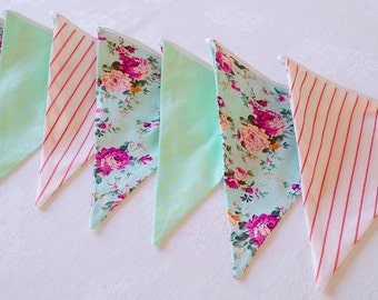 Bunting Banner Girl - 12 Flags Banner - Bunting Garland - Baby Nursery - Fabric Pennant Flags - Decor Baby Shower