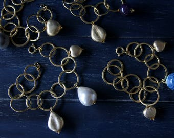 Circle gold brass and stones