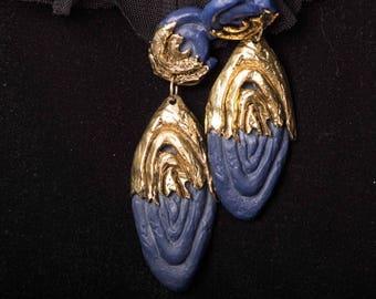 CLAUDE  MONTANA of 80's  Clip on Earrings/Chandelier earrings/Dangle & Drop Earrings/Huge Earrings/Christmas Gif/Gift Idea
