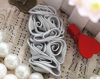 Grey Satin Flower Appliques Rose Flowers 3pcs For Wedding Dress Bridal Costume Headware Supplies