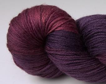 Handpainted Yarn, Merino Silk 50/50, Lambent, Fingering Wt, 100 g, Huckleberry