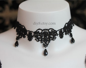 """Victorian Gothic Lolita Black lace NECKLACE with Black Crystal  Vampire Queen  Jewelry for Women - adjustable length 12"""" - 15""""(NL008)"""