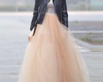 Full length, long tulle skirt, tea length, blush tulle maxi skirt, wedding skirt, fairy, bridal, princess, casual, made to order, all sizes